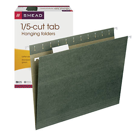 Smead® Premium-Quality Hanging Folders, 1/5 Cut, Letter Size, Standard Green, Pack Of 25
