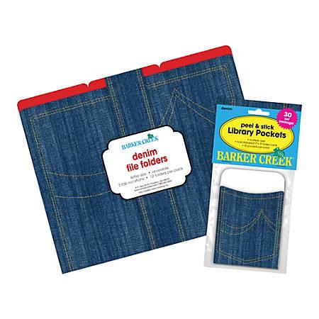 """Barker Creek Folder/Pocket Set, 9"""" x 12"""", Denim"""