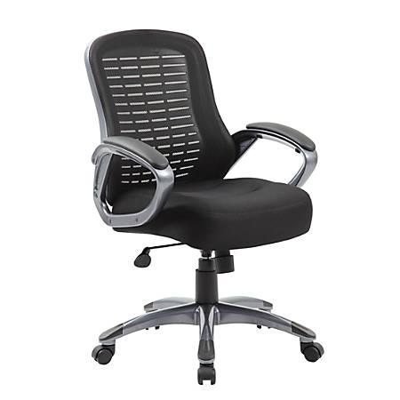 Boss Ribbed Mesh High-Back Task Chair, Black/Black