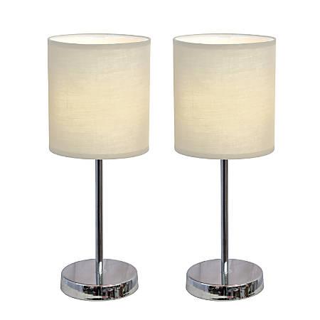 "Simple Designs Mini Basic Table Lamps, 11 7/8""H, White Shade/Chrome Base, Set Of 2"