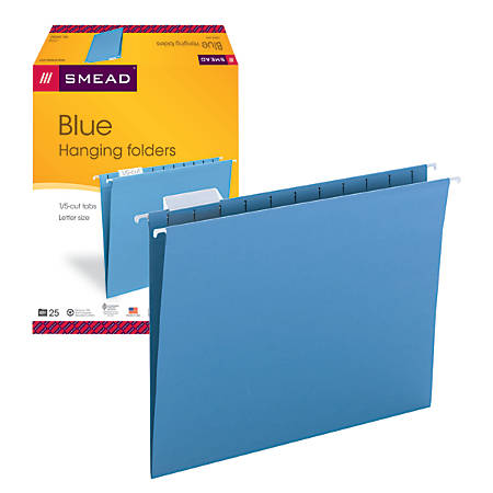 Smead® Hanging File Folders, 1/5-Cut Adjustable Tab, Letter Size, Blue, Box Of 25