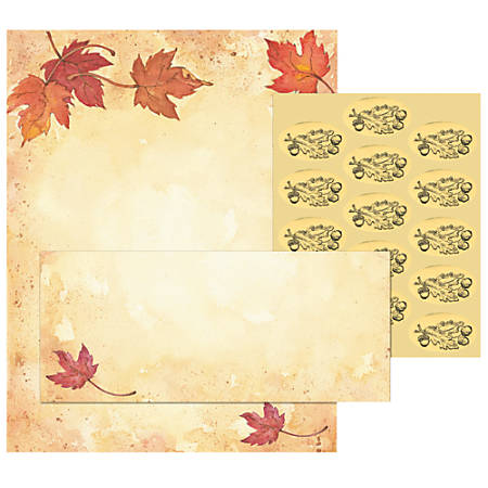 "Great Papers!® Holiday Stationery Kit, Fall Leaves, 8 1/2"" x 11"", Pack Of 25 Letterhead, Envelopes and Seals"