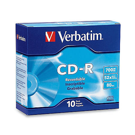 Verbatim® High-Speed CD-R Discs, Silver, Pack Of 10