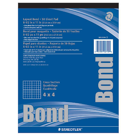 "Staedtler® Bond Paper, 8 1/2"" x 11"", 4 x 4, White With Blue Grid, 50 Sheets"