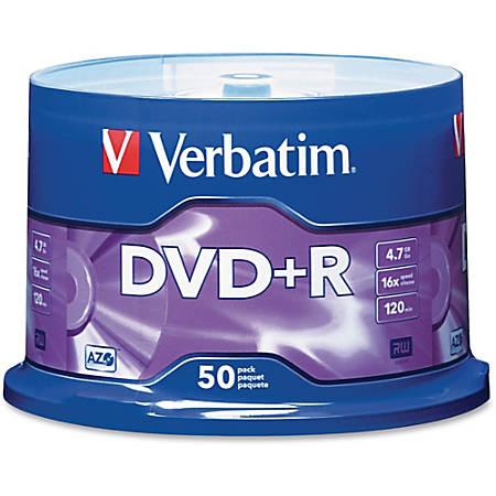 Verbatim® DVD+R Recordable Media Spindle, no valueGB/no value Minutes, Pack Of no value