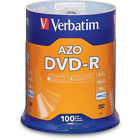 Verbatim® DVD-R Recordable Media Spindle, 4.7GB/120 Minutes, Pack Of 100