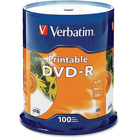 Verbatim® Inkjet Printable DVD-R Spindle, White, Pack Of 100