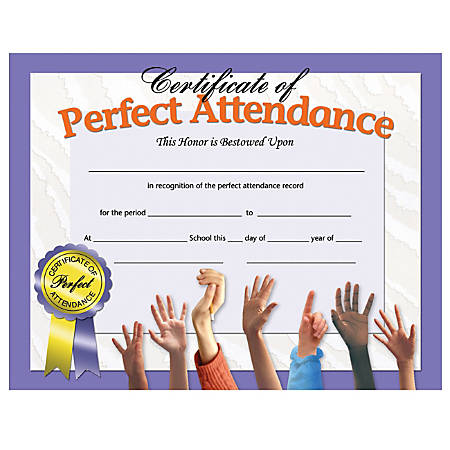 "Hayes Publishing Perfect Attendance Certificates, Hands, 8 1/2"" x 11"", Multicolor, Pack Of 30"