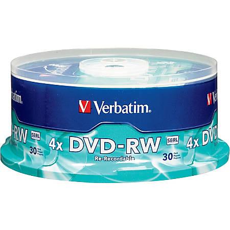 Verbatim® DVD-RW Rewritable Media Spindle, 4.7GB/120 Minutes, Pack Of 30