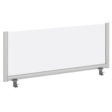 """Bush Business Furniture Frosted Desk Top Privacy Screen, 17 3/4""""H x 45 11/16""""W x 1 3/16""""D, White/Silver, Standard Delivery"""