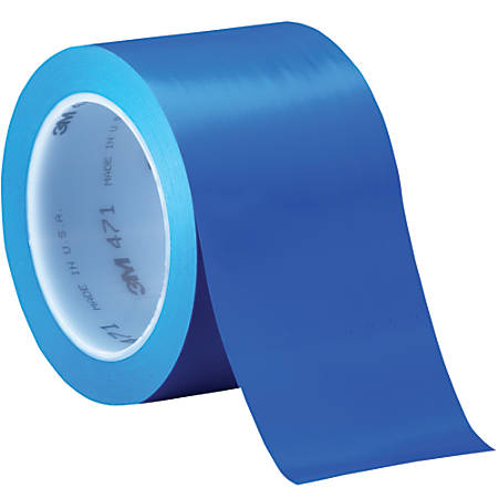 "3M™ 471 Vinyl Tape, 3"" Core, 3"" x 36 Yd., Blue, Case Of 12"