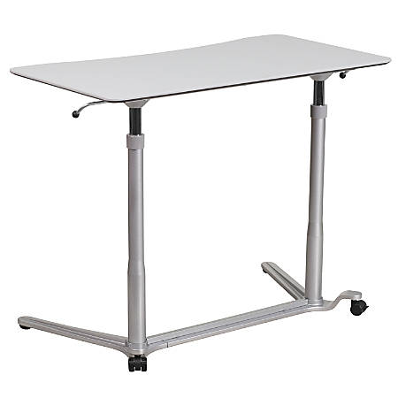 "Flash Furniture 38""W Sit-Down/Stand-Up Ergonomic Computer Desk, Light Gray"