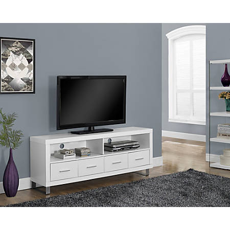 """Monarch Specialties 4-Drawer TV Stand For TVs Up To 60"""", White"""