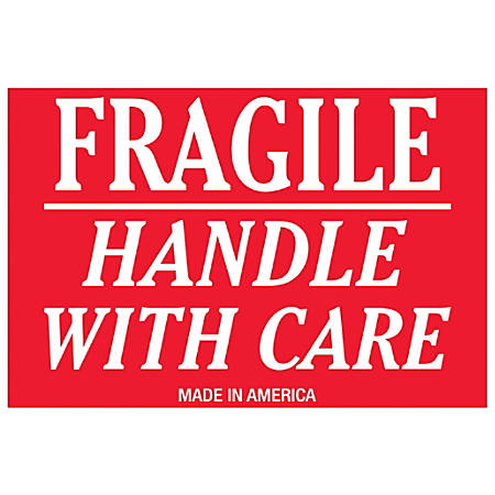 """Tape Logic® Preprinted Shipping Labels, DL1052, Fragile — Handle With Care Underline, Rectangle, 2"""" x 3"""", Red/White, Roll Of 500"""