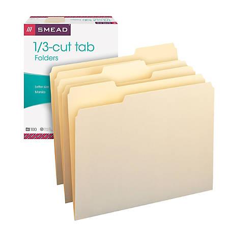 Smead® Manila File Folders, Letter Size, 1/3 Cut, Pack Of 100
