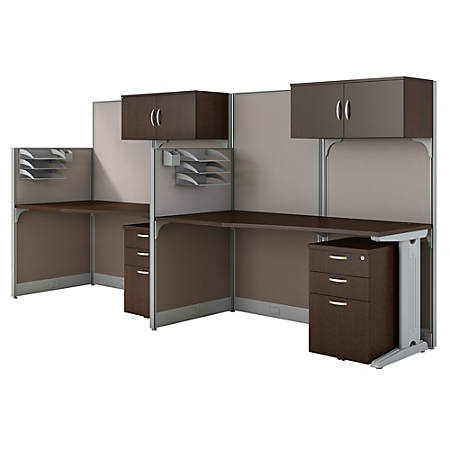 Bush Business Furniture Office in an Hour 2 Person Cubicle Workstations, Mocha Cherry, Standard Delivery