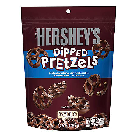 Hershey's® Chocolate-Dipped Pretzels, 8.5 Oz, Pack Of 6 Bags