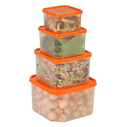 Honey-Can-Do 8-Piece Easy-View Food Container Set, 0.5 - 3.2 Qt, Clear