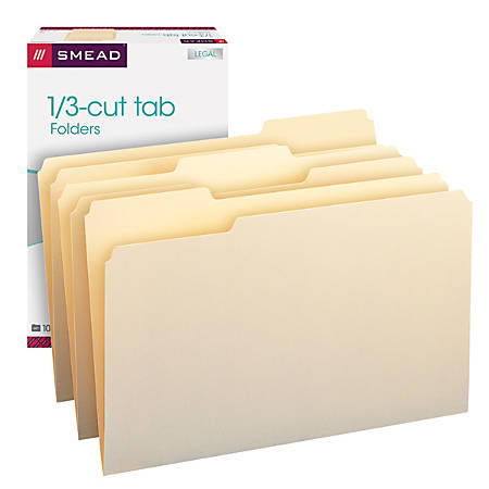 Smead® Manila File Folders, Legal Size, 1/3 Cut, Pack Of 100