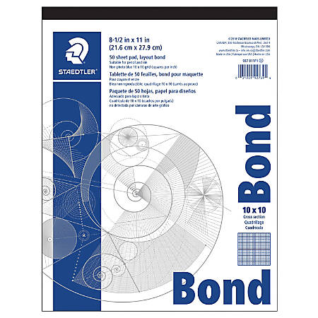 """Staedtler® Non-Photo Cross-Section Drawing Paper, 10"""" x 10"""" Grid, 8 1/2"""" x 11"""", Pack Of 50 Sheets"""
