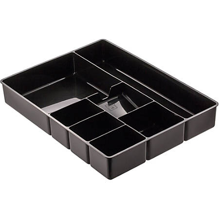"""Officemate Deep Drawer Organizer Tray, 8 Compartments, 2 1/4""""H x 15 1/8""""W x 11 1/2""""D, Black"""