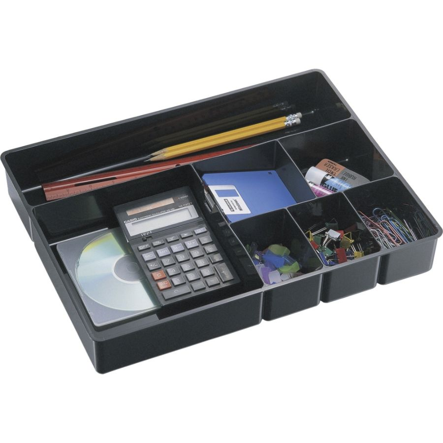 Genial Officemate Deep Drawer Organizer Tray 8 Compartments 2 14 H X 15 18 W X 11  12 D Black By Office Depot U0026 OfficeMax