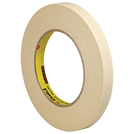 "3M™ 202 Masking Tape, 3"" Core, 0.5"" x 180', Natural, Pack Of 6"