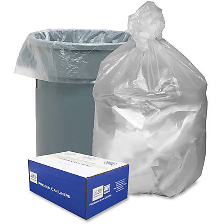 "Webster High Density Commercial Can Liners - Medium Size - 33 gal - 33"" Width x 40"" Length x 40"" Depth - 0.43 mil (11 Micron) Thickness - High Density - Natural - High-density Polyethylene (HDPE) - 500/Carton - Office Waste"