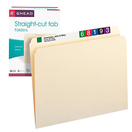 Smead® Manila File Folders, Letter Size, Straight Cut, Pack Of 100
