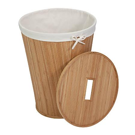 Honey-Can-Do Round Bamboo Hamper, Natural/Cream