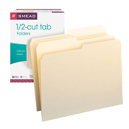 Smead® Manila File Folders, Letter Size, 1/2 Cut, Pack Of 100