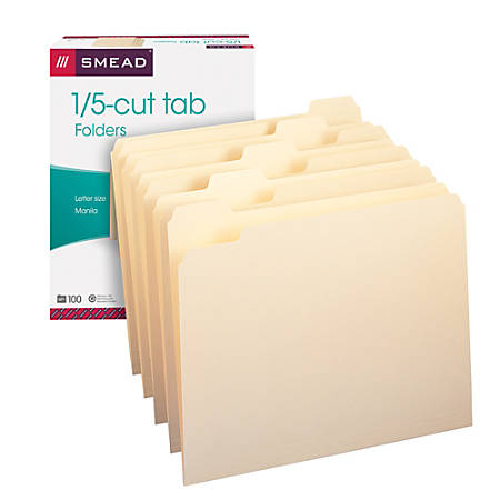 Smead® Manila File Folders, Letter Size, 1/5 Cut, Pack Of 100