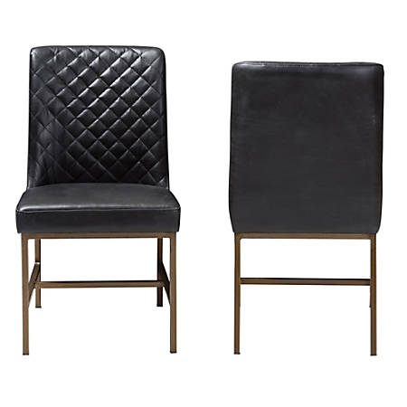 Baxton Studio Mael Faux Leather Chairs, Black/Bronze, Set Of 2 Chairs