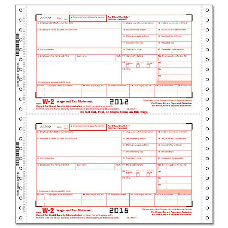 "ComplyRight™ W-2 Continuous Tax Forms, Employer Copies A, 1/D And 1/D, 3-Part, 9 1/2"" x 11"", Pack Of 100 Forms"