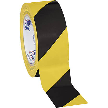 "BOX Packaging Striped Vinyl Tape, 3"" Core, 2"" x 36 Yd., Black/Yellow, Case Of 3"