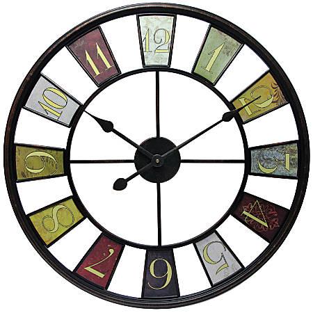 "Infinity Instruments Kaleidoscope 24"" Round Wall Clock, Multicolor"