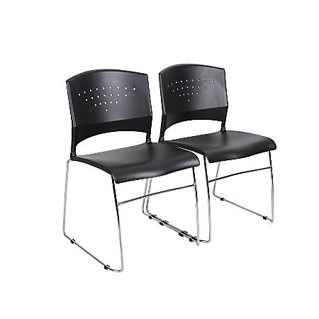 Boss Office Products Stack Chairs, Black/Chrome, Set Of 2 Chairs