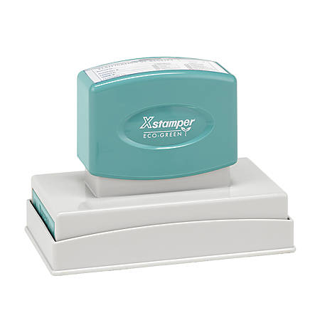 """ECO-GREEN Xstamper® Pre-Inked Large Stamp, N27, 65% Recycled, 1 9/16"""" x 3 15/16"""" Impression"""