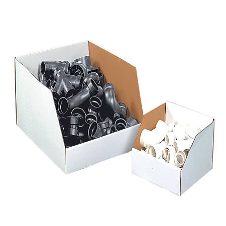 """Office Depot® Brand White Jumbo Open Top Parts Bin Boxes, 8"""" x 10"""" x 12"""", Pack Of 25"""