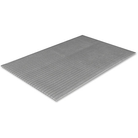 "Crown Mats Tuff-Spun Foot-Lover Mat - Cement Floor, Service Counter, Cashier's Station, Warehouse, Industry, Indoor, Mailroom, Floor - 10 ft Length x 36"" Width x 0.38"" Thickness - Rectangle - Vinyl, Closed-cell PVC Foamboard - Gray"