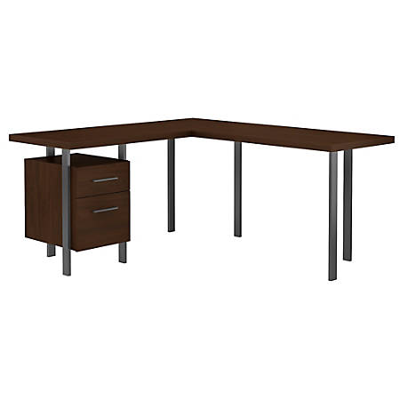 "Bush Furniture Architect 60""W L-Shaped Desk With Drawers, Modern Walnut, Standard Delivery"