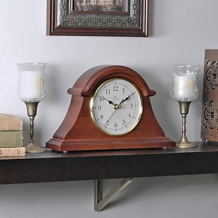 """FirsTime® Napoleon Tabletop Clock, 7 1/2""""H x 12""""W x 2 1/2""""D, Walnut"""