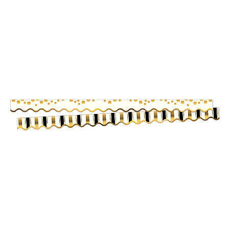 """Barker Creek Scalloped-Edge Border Strips, 2 1/4"""" x 36"""", Gold Coins, Pre-K To College, Pack Of 26"""