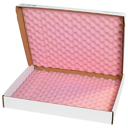 "Office Depot® Brand Antistatic Foam Shippers, 22""H x 18""W x 2 3/4""D, Pink/White, Case Of 12"
