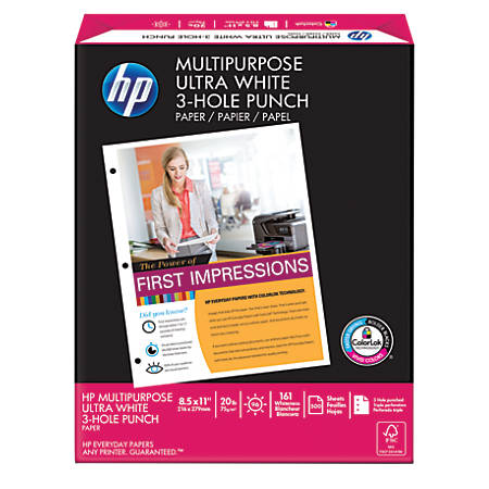 HP Multipurpose Paper, 3-Hole Punched, Letter Size Paper, 20 Lb, White, Ream Of 500 Sheets