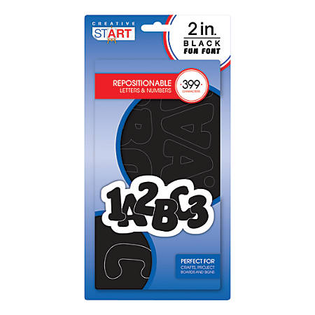 """Creative Start® Self-Adhesive Characters, Letters, 2"""", Block, Black, Pack Of 399"""
