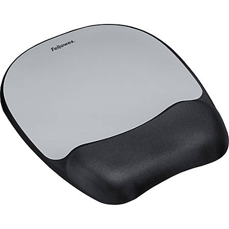 """Fellowes Memory foam Mouse Pad/Wrist Rest- Silver Streak - Silver Streak - 1"""" x 7.9"""" x 9.3"""" Dimension - Silver - Memory Foam, Jersey Cover - Wear Resistant, Tear Resistant, Skid Proof"""