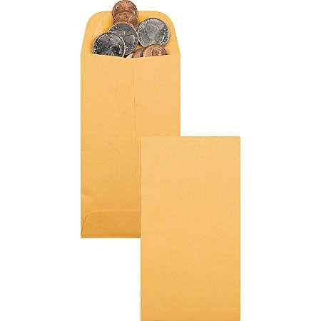 "Quality Park Kraft Coin/Small Parts Envelope - Coin - #5 - 2 7/8"" Width x 5 1/4"" Length - 28 lb - Gummed - Kraft - 500 / Box - Light Brown"