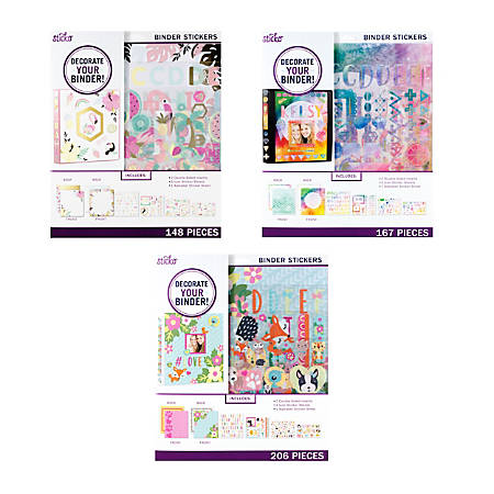 "Sticko Back To School Mega Binder Kit, Trendy Pastel, Trendy Watercolor Or Cute Critters, 10 1/4"" x 11 3/4"", Multicolor"