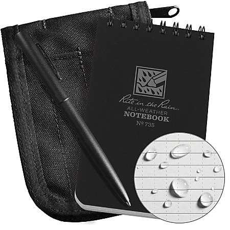 "Rite In The Rain® Pocket Top-Spiral Notebook Kit, 3"" x 5"", Black"